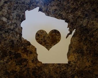 Wisconsin Heart Vinyl Decal
