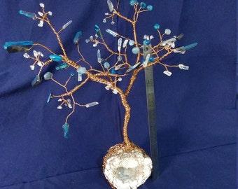 Aura Quartz Crystal Copper Tree