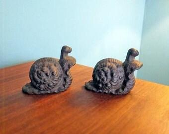 Vintage Antique Cast Iron Snail Bookends