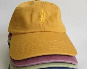 Embroidered Dandelion-Gold Feather Hat