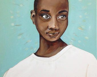 Portrait in Teal | Original Acrylic Painting