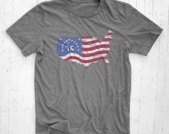 1776 Bennington American Flag - Tri-Blend Tee