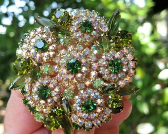 JULIANA BROOCH Green AB Layered Flower Vintage ~ DeLizza and Elster Crystal Rhinestone Floral Brooch ~ Prong Set Crystal Rhinestone Brooch