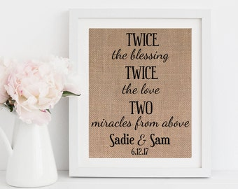Twins Baby Gift Twins print Twice the Blessing Twice the Fun