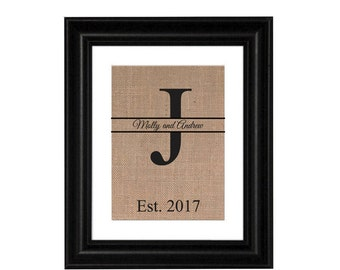 ON SALE Initial Print Burlap Print Personalized Gift