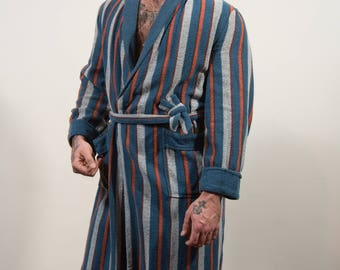 Vintage Men's Robe - Striped Cotton Dressing Gown - Medium-Large - Bedroom Attire- Gift for him