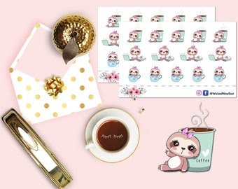 Coffee Time Sloth Planner Stickers, Tea Time Sloth Sticker, Work Time Sloth Sticker, Scrapbook Sticker, Planner Stationary Accessories