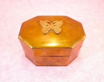 Vintage brass trinket box with brass butterfly
