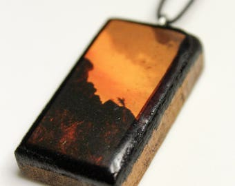 Mountainscape with Orange Sky Wooden Pendant