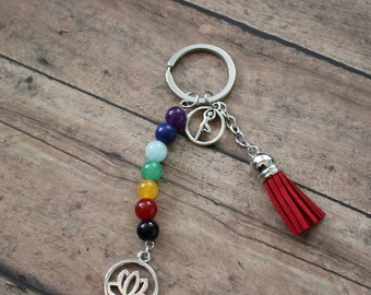7 Chakra Healing Beads Tree Pose Lotus Charm Key Chain with Red Faux Suede Tassle Protection Healing Energy