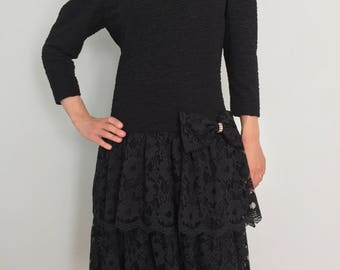 Black Bow Party Dress / Classic 80s / 1980s Fashion / Vintage Lace Tiered Dress / Rimini / Rhinestone Bow / Princess Sleeve