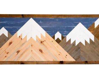 Wooden Mountainscape - Reclaimed Barn Wood Handmade Wall Décor Art Rustic Mosaic Hanging