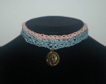 Choker: Sun and Moon, Pink and Sky Blue