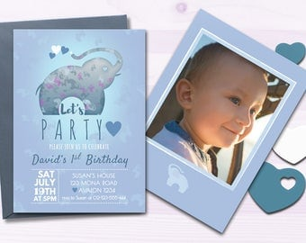 Elephant Birthday Invitation, Birthday Party, Party Invites for kids, Birthday boy, printable, blue