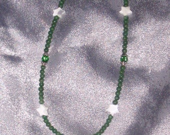 Jade and Swarovski crystal Necklace with Mother-of-Pearl Stars