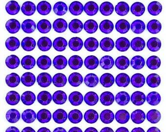 3 Sheets - Amethyst 8mm Adhesive Rhinestone Dot Sticker