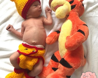Disney Winnie The Pooh Inspired Infant Newborn Baby Outfit Beanie Hat Booties Shoes Diaper Cover Crochet Photography Photo Prop