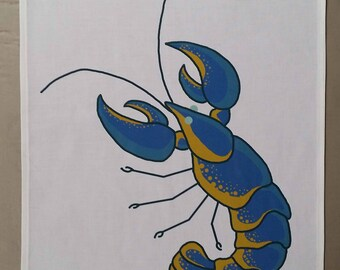 Handmade, made to order 100% cotton tea towel - lobster (blue and orange)
