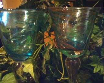 Vintage Turquoise blue and swirled gold flakes goblets