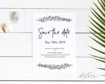 Save-the-date, Save the date, Botanical save the date, Save our Date, Minimalist Save the date, Save the Date Magnet, Calligraphy 003