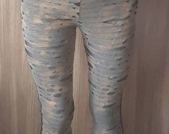 Mixed fabric distressed leggings. UK size 8-10