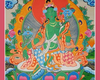 58 by 44 cm Green Tara Thangka Painting on Canvas