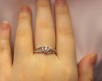 Promise Ring For Her ~  Silver Promise Ring ~ Cubic Zirconia Ring ~ Girlfriend ~ Womens Ring ~ Gift for Her