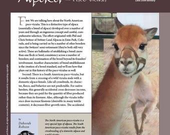 Deborah Robson's Guide to Fiber: Alpaca - Paco-vicuña (PDF download)