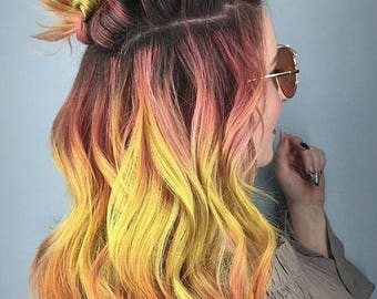 SUNSET OMBRE MERMAID Clip In Hair Extensions, Pastel Extensions, Unicorn Hair Extensions, Rainbow Human Hair Extensions, Boho Hair Weave