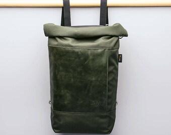 Muda leather bag- water resistant cordura backpack