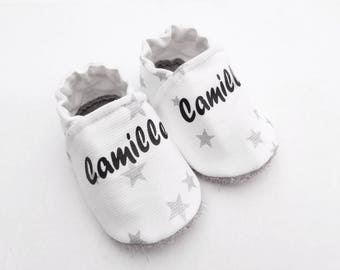 Baby booties customizable leather sole and cotton with silver stars