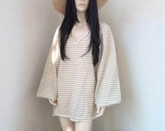 ALINE tunic - Cotton Voile - one size - Beach - Bohemian - Boho - Hippie - Ibiza - Gypsy - Beach dress - gold - Beachwear - Zen