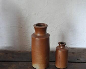 Stoneware clay vintage bottles jugs