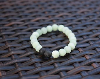 Mint Green and Charcoal Jade Beaded Bracelet