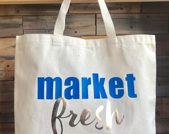 Market Fresh Large Canvas Tote Bag