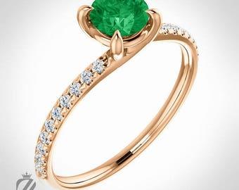 14K Rose Gold Diamond And Emerald Engagement Ring Wedding Ring Bridal Ring