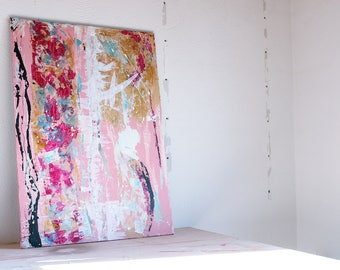Acrylic painting 70 x 100 x 1,5 cm canvas on stretcher abstract painting | Pink, gold, turquoise,