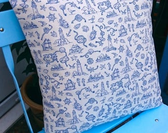 Seaside Toile Cushion, Coastal, Seaside, Historic, Boats, Square, Cushion, Home, Maritime, Decorative, Blue, Cornwall, Nautical