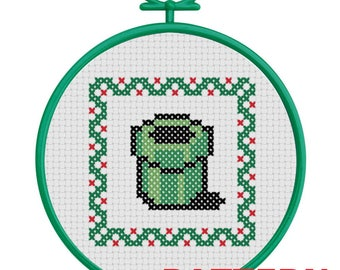 Warp Pipe Christmas Ornament Counted Cross Stitch PATTERN / Super Mario Warp Pipe Cross Stitch / Mario Pipe Christmas Ornament Cross Stitch