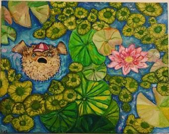 "Pufferfish in Lily Pond / Blowfish / Oil Painting / 14""x11"" / Surreal Animal Art / Wall Art / Birthday Gift / Humor Art / Canvas Art"