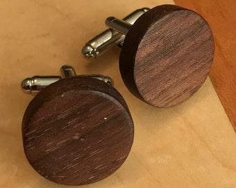 Walnut Wood Cuff Links - FREE SHIPPING