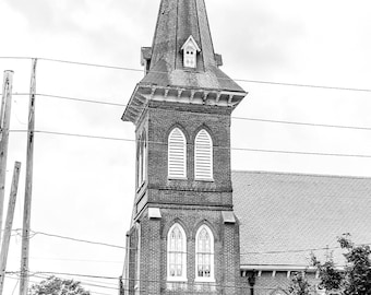 Black and White Church Print