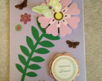 Friends Forever Card/Handmade Card/Floral/Pink and Yellow/Butterflies/3D