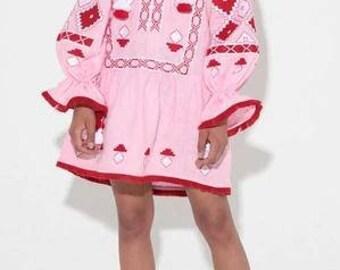 Embroidery Embroidered DRESS boho chic style Vvyshyvanka Fashion Dress Ethnic Tunic Budva in pink