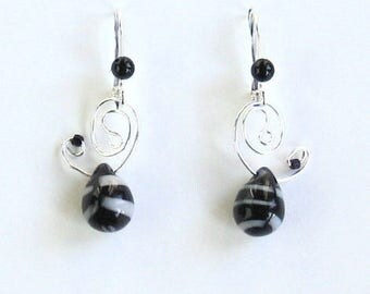 Onyx and white African Bead Earrings