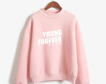 Young Forever BTS Sweatshirt Bangtan Boys K-Pop Turtleneck Hoodie Korean Sweatshirt Harajuku Kawaii Pink Japanese Oversized UNISEX