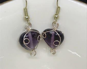 Elegant Purple with Gold Tone Metal Dangling Earrings