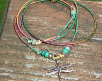 Colorful Rustic Copper Dragonfly On Gypsy Leather