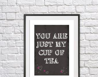 kitchen print, quote print, quote poster, typography print, digital print, retro print, vintage print, tea, wall art, blackboard