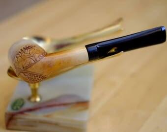 Estate Pipe - Meerschaum Tall Billiard with Grape Leaf pattern